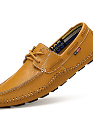 Big Size Men's Boat Shoes Genuine Leather Comfort Cowhide Casual Flat Heel Slip-on Black / Blue / Brown / White Others
