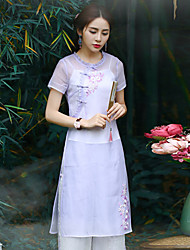 Our StoryWomen's Going out Chinoiserie Sheath DressEmbroidered Round Neck Knee-length Short Sleeve Purple Polyester