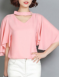 Women's Solid Blue / Pink / White Blouse,Crew Neck Short Sleeve