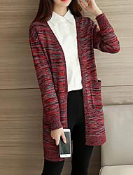 Long Cardigan Femme Décontracté / Quotidien simple,Jacquard Rouge Drapé Manches Longues Acrylique / Nylon / Spandex Automne / Hiver Epais