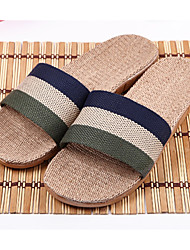 Men's Slippers & Flip-Flops Summer Slingback Linen Casual Flat Heel Others Blue Green Burgundy Coffee Others