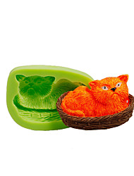 Cat Napping In Basket Silicone Mould Fondant Cake Decoration Tools Polymer Clay Fimo Chocolate Candy Soap Making