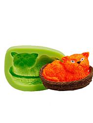 Cat napping em cesta de silicone, molde, fundente, bolo, decoração, ferramentas, polímero, argila, fimo, fazendo, cor, aleatório