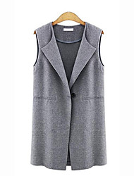 Women's Plus Size / Casual/Daily Street chic Spring / Fall Jackets,Solid Notch Lapel Sleeveless Black / Gray Cotton