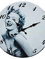 Moderne/Contemporain Famille Horloge murale,Rond Autres 34*34*3cm Intérieur Horloge
