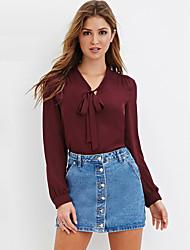 Mulheres Blusa Casual Vintage Todas as Estações,Sólido Vermelho / Preto Poliéster Decote V Manga Longa Fina