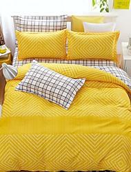 bedtoppings cachecol 4pcs duvet cover quilt definir o tamanho da rainha folha fronha plana amarela verificação impressões brancos microfibra