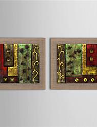 Pintada a mano Abstracto Pinturas de óleo,Modern Dos Paneles Lienzos Pintura al óleo pintada a colgar For Decoración hogareña