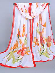 Women's Chiffon Flowers Print Scarf Red/Fuchsia/Pink/Blue