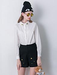 Mulheres Calças Simples Shorts Lã Sem Elasticidade Mulheres