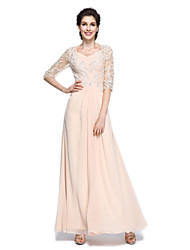 Lanting Bride® A-line Mother of the Bride Dress Floor-length Half Sleeve Chiffon with Appliques / Beading / Criss Cross