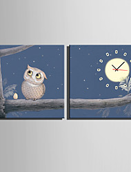 Carré Moderne/Contemporain Horloge murale , Autres Toile40 x 40cm(16inchx16inch)x2pcs/ 50 x 50cm(20inchx20inch)x2pcs/ 60 x