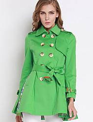 trincheira coatsolid colarinho da camisa de algodão verde médio kenaya mulheres casual / diária simples de manga comprida outono / inverno