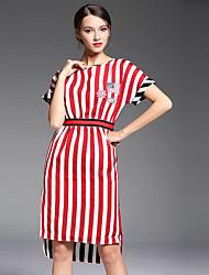 Gaine Robe Femme Sortie / Grandes Tailles simple,Rayé Col Arrondi Mi-long Sans Manches Rouge Polyester Eté Taille Normale Non Elastique