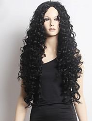 Top Quality Fashion Long Curly Black Synthetic Wig for Sexy Lady Synthetic Wigs