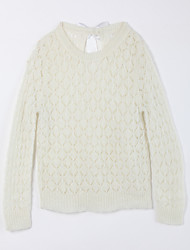 Girl's Casual/Daily Solid Sweater & Cardigan,Cotton Fall White