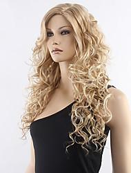 alta calidad rubia peluca rizada media larga peluca sintética de la venta caliente.