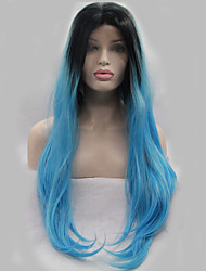 Hot Sell Blue Ombre Heat Resistant Hair Cheap Long Synthetic Lace Front Wig/Women Wig