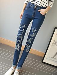 Damen Hose - Einfach Jeans Polyester Dehnbar