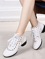 Damen-Sneaker-Outddor Lässig-Leder-Flacher AbsatzSchwarz Rot Weiß