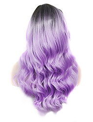 IMSTYLE 22Cosplay Rooted lilac Long Wavy Synthetic Machine Wig For Party