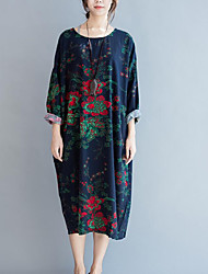 Mujer Corte Ancho Vestido Casual/Diario Simple,Floral Escote Redondo Midi Manga Larga Azul Algodón / Lino Otoño Tiro Medio Rígido Medio