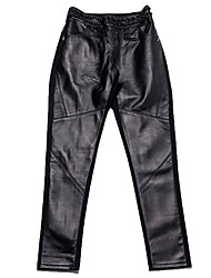 Women's Solid Black Skinny Leather Pants 7722