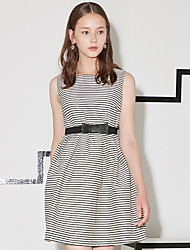 I'HAPPY Women's Formal Simple A Line DressSolid / Striped Round Neck Above Knee Sleeveless