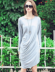 LUTING Women's Round Neck Long Sleeve Above Knee Dress-6776
