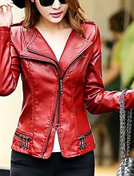 Women's Going out Sexy Fur CoatSolid Asymmetrical Long Sleeve Winter Red / Black PU Medium