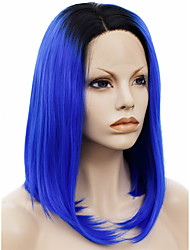 IMSTYLE 14Top Quality Blue Hair With Dark Root Synthetic Wigs Lace Front