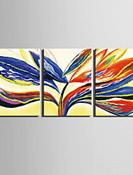 E-HOME® Stretched Canvas Art Colored Leaves Decoration Painting  Set of 3