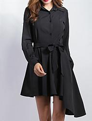 Feminino Solto Vestido,Casual Vintage Sólido Colarinho de Camisa Assimétrico Manga Longa Preto Poliéster Todas as Estações Cintura Média