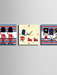Modern/Zeitgenössisch Zeichentrickfilm Wanduhr,Quadratisch Leinwand 25 x 25cm(10inchx10inch)x3pcs Drinnen Uhr
