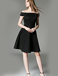 Women's Casual/Daily Sophisticated Sheath DressSolid Boat Neck Knee-length Short Sleeve Black Polyester Summer /