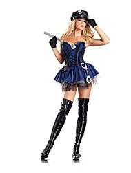 Косплэй Kостюмы / Костюм для вечеринки Полиция Фестиваль / праздник Костюмы на Хэллоуин синий Однотонный Платье / Больше аксессуаров
