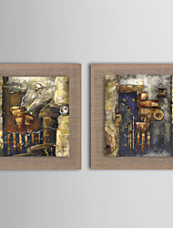 2 Panel Modern Wall Art Pictures Abstract  Oil Painting Hand-Painted On Linen Home Decoration With Frame