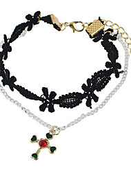Gothic Style Lace Flower Silver Color Chain Anklet