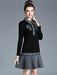aufoli осень зима женщин плюс размер ретро вышивки рябить лоскутное длинным рукавом платье