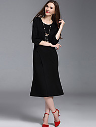 Multiflora Women's Round Neck 3/4 Length Sleeve Midi Dress-45301621220