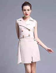 Boutique S Going out Street chic Sheath DressSolid Shirt Collar Above Knee Sleeveless Beige Cotton