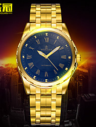 BOSCK® Men's  Automatic Mechanical Hollow Dial Luminous Calendar Gold Steel Band Wrist Watch