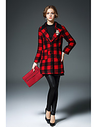 Women's Casual/Daily Simple Trench CoatCheck Shirt Collar Long Sleeve Winter Red Wool Thick