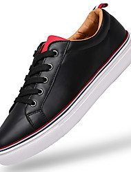 Men's Sneakers Comfort Leather Athletic / Casual Flat Heel Lace-up Black / White / Multi-color Others