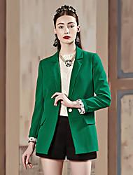 Feminino Blazer Trabalho Simples Primavera / Outono,Sólido Verde / Amarelo Poliéster / Elastano Lapela Pontuda Manga Longa Média
