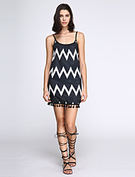 Women's Holiday Dress,Striped Above Knee Sleeveless Black Others Summer