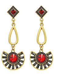 Vintage Style Blue Red Rhinestone Long Drop Earrings