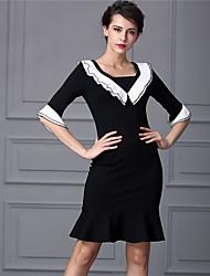 Baoyan® Femme Col en V Manches 1/2 Au dessus des genoux Robes-160270