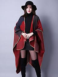 Damen Standard Mantel / Capes-Ausgehen / Lässig/Alltäglich Retro Jacquard Blau / Rot / Schwarz / Braun / Lila Asymmetrisch LangarmWolle /