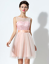 2017 Cocktail Party Dress A-line Bateau Short / Mini Tulle with Bow(s) / Pattern / Print